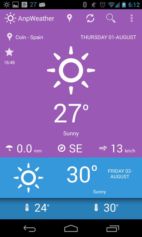 Application météo anpWeather gratuite sur Android