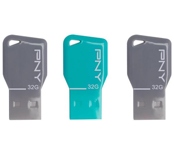 Pack de 3 clés USB 2.0 PNY Key Attaché 32 Go