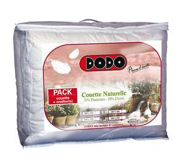 Pack Dodo Naturel : Couette 140 x 200 cm + Oreiller 60 x 60 cm