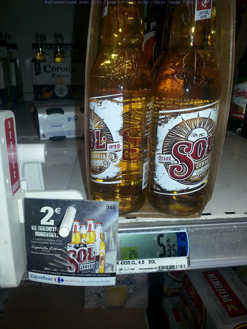 Pack de 4 bieres Sol (bon de réduction + C-Wallet)