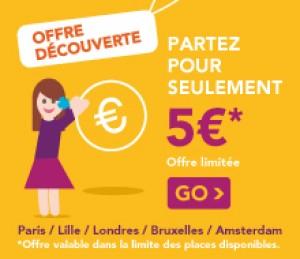 Aller/Retour en bus vers Paris / Lille / Londres / Amsterdam / Bruxelles