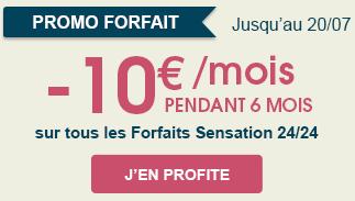 -10€ sur tous les forfaits Sensation 24/24 pendant 6 mois - Ex : Forfait Sensation 3 Go