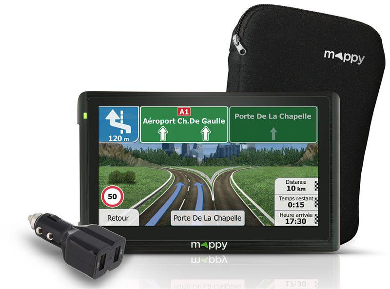 GPS Mappy E511 Europe Pack : GPS + Housse + Chargeur voiture 2 ports USB (-50% sur la carte)