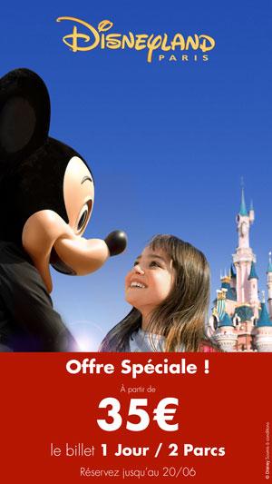 Billet Disneyland 1 jour / 2 Parcs  pour le mois de Juin