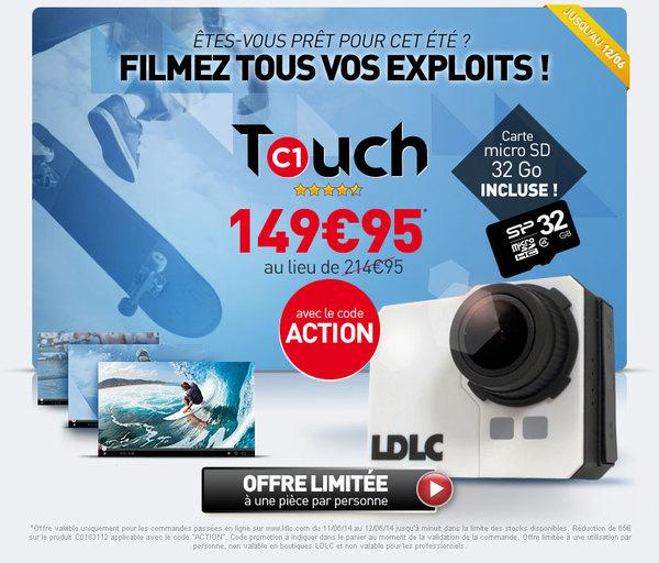 Caméra LDLC Touch C1 + Carte mémoire microSDHC Class 10 32 Go