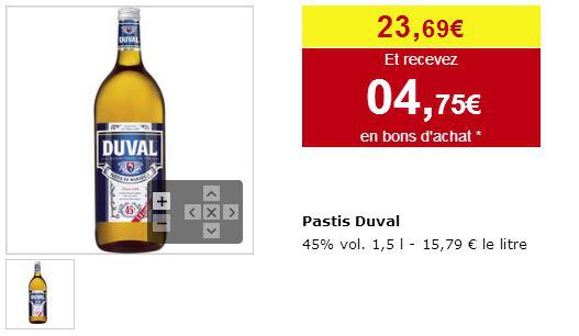 Bouteille de pastis Duval 1,5 L (4,75 en bons d'achat)