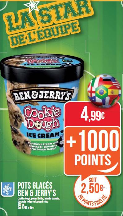 Pot de glace Ben&Jerry's - Différents parfum  (avec 50% en remise fidélité)