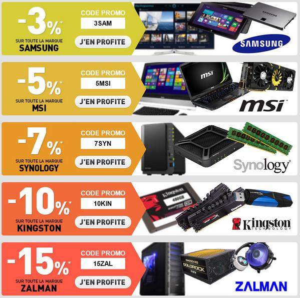 -3% sur toute la marque Samsung, -5% sur MSI, -7% sur Synology, -10% sur Kingston et -15% sur Zalman