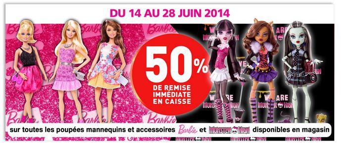 -50% sur les poupées Barbie et Monster High en ligne et en magasin