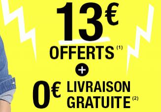 13€ offerts dès 39€ d'achats + livraison gratuite