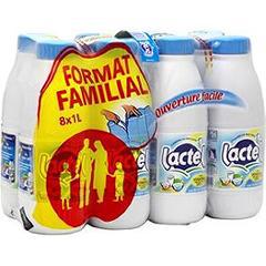 Pack de 8 bouteilles 1L Lactel lait demi-écrémé