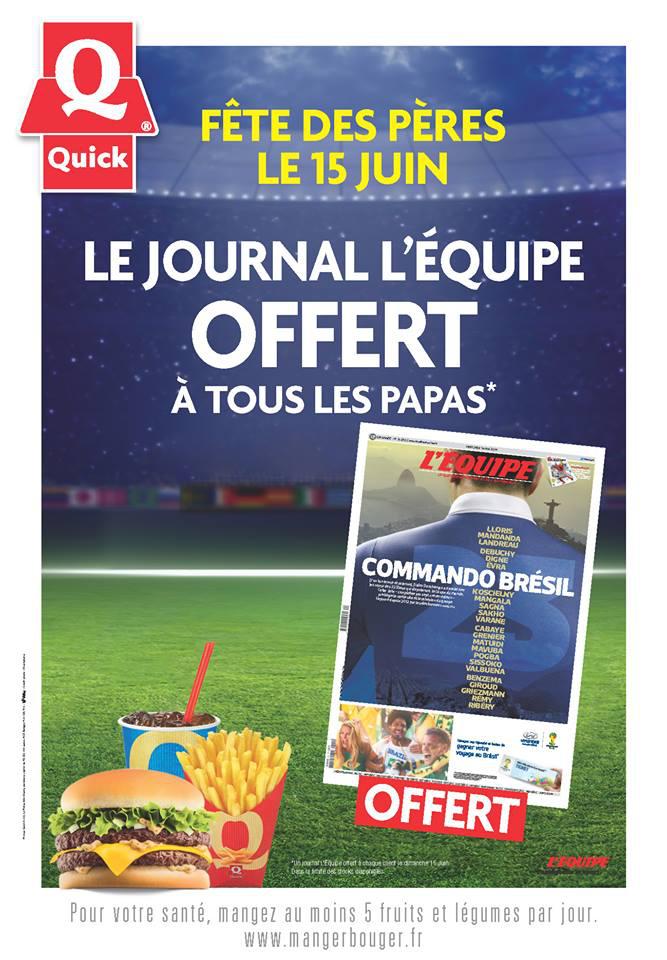 """Journal L'Equipe offert pour tout les clients """"Papa"""""""