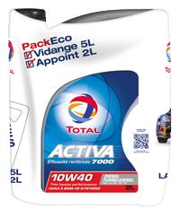 Huile moteur essence ou diesel Total Activa 7000 5L + 2L 10W40 triple optimisation