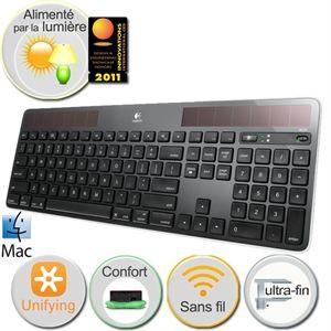 Clavier solaire Logitech Wireless K750 noir pour Mac