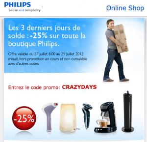 25% de remise sur tout le site Philips + Livraison gratuite