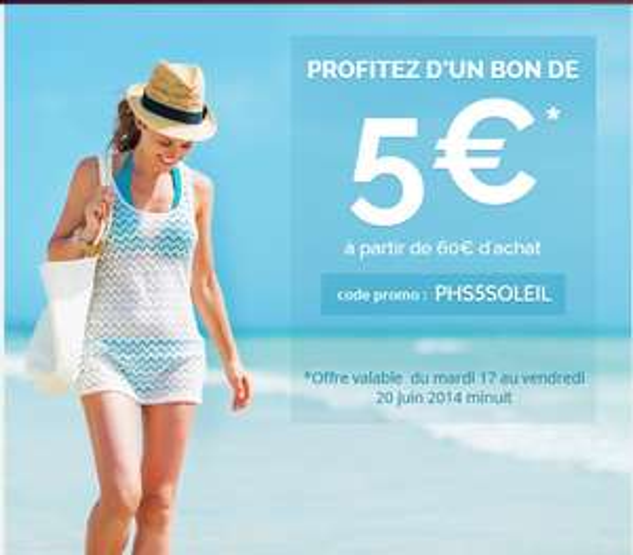 5€ de réduction dès 60€ d'achat
