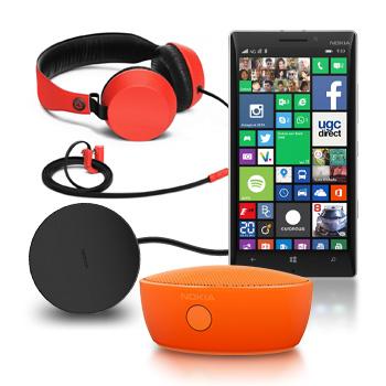 Smartphone Nokia Lumia 930 - Quad-Core, 32 Go - 20Mpix + une enceinte bluetooth + un casque et un chargeur induction
