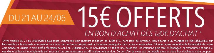 15€ offerts en bon d'achat dès 120€ d'achat