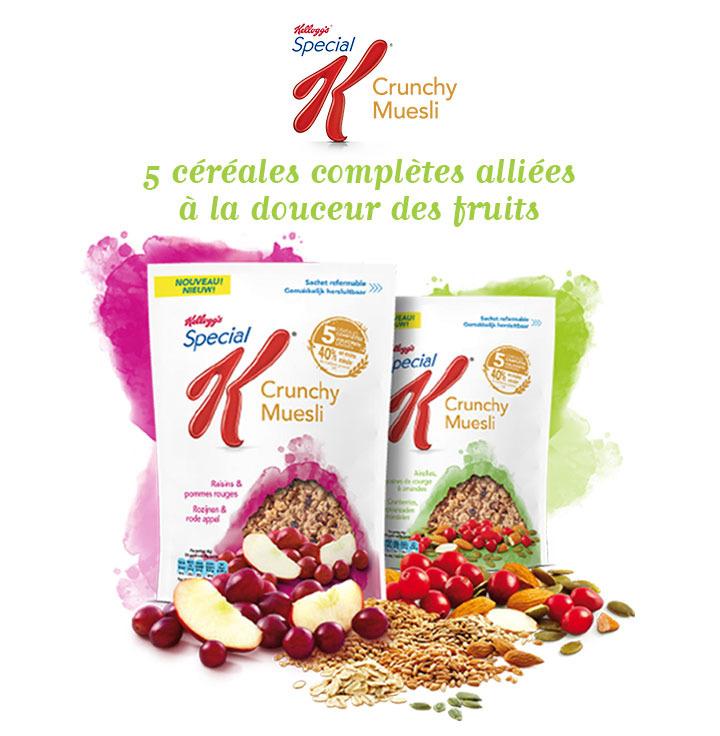 Lot de 2 paquets de Crunchy Muesli pommes / raisins et airelles / amandes de Kellog's gratuits (au lieu de 6.98€)