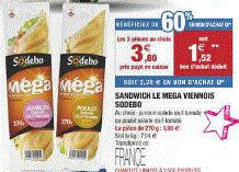 Lot de 2 sandwichs viennois Sodebo différentes garnitures (60% en bons d'achat + bon de réduction)