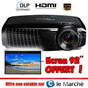 "Vidéo projecteur Optoma HD131XE - Full HD 3D + Ecran 92"" Optoma DS-9092PMG+ offert"
