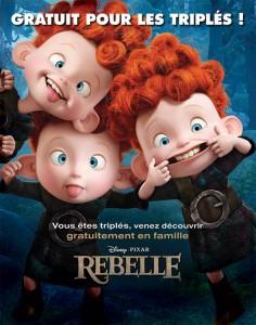 """5 places de cinéma gratuites pour """"Rebelle - Les triplés"""" pour les familles ayant des triplés"""