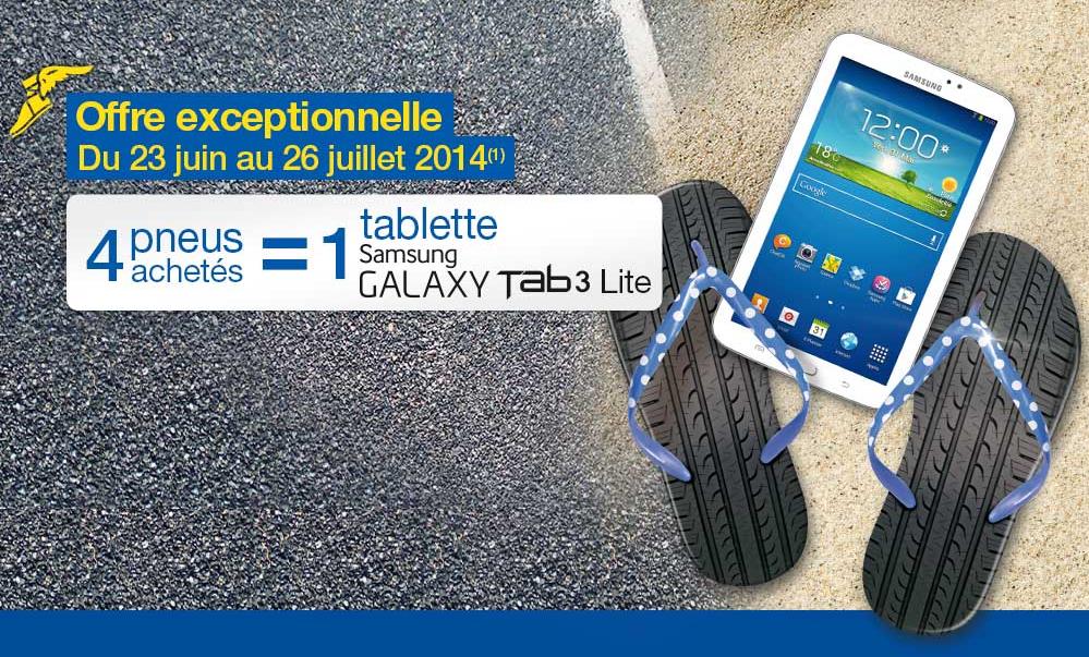 4 pneus Goodyear ou Dunlop achetés = 1 Galaxy Tab3 Lite offerte