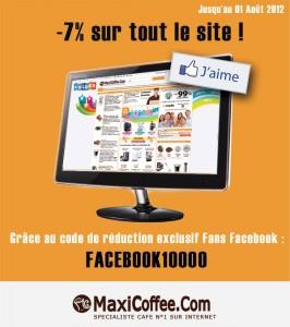 -7% sur tout le site maxicoffee