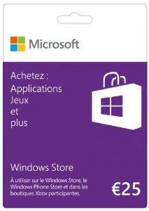 Carte cadeau Windows Store 25€ (Windows Store & Xbox Live)