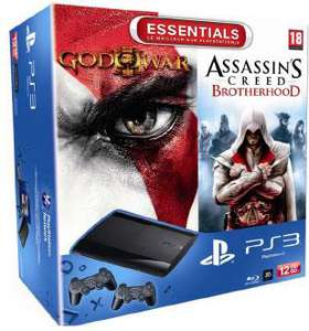 Console Sony PS3 Slim 12 Go + 2 Manettes  + God Of War 3 + Assassin's Creed Brotherhood