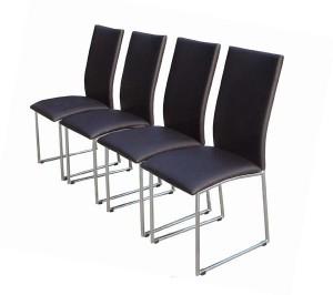 Lot de  4 chaises KDF Oriane PU - Chocolat