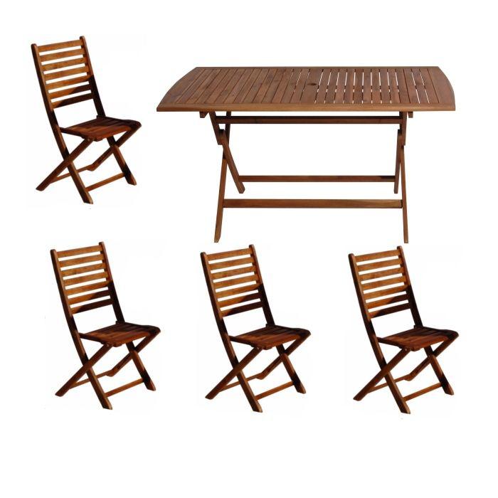 Salon de jardin Bangkok : Table + 4 chaises en Acacia