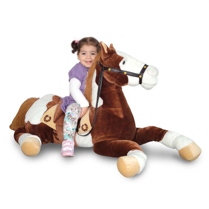 Peluche cheval allongé 1m
