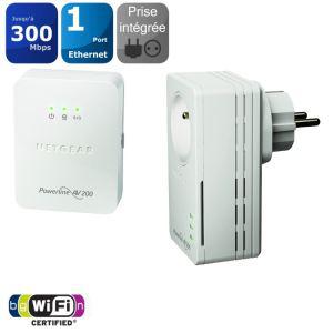 Pack de 2 CPL Netgear XWNB1601 200Mbps et prise - Wifi
