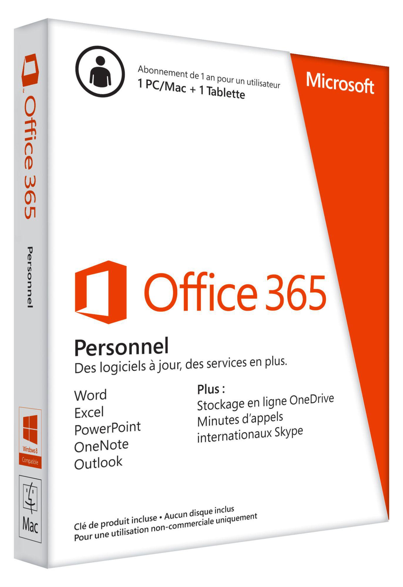 Microsoft Office 365 Personnel - Licence un an pour 1 PC ou Mac et 1 Tablette