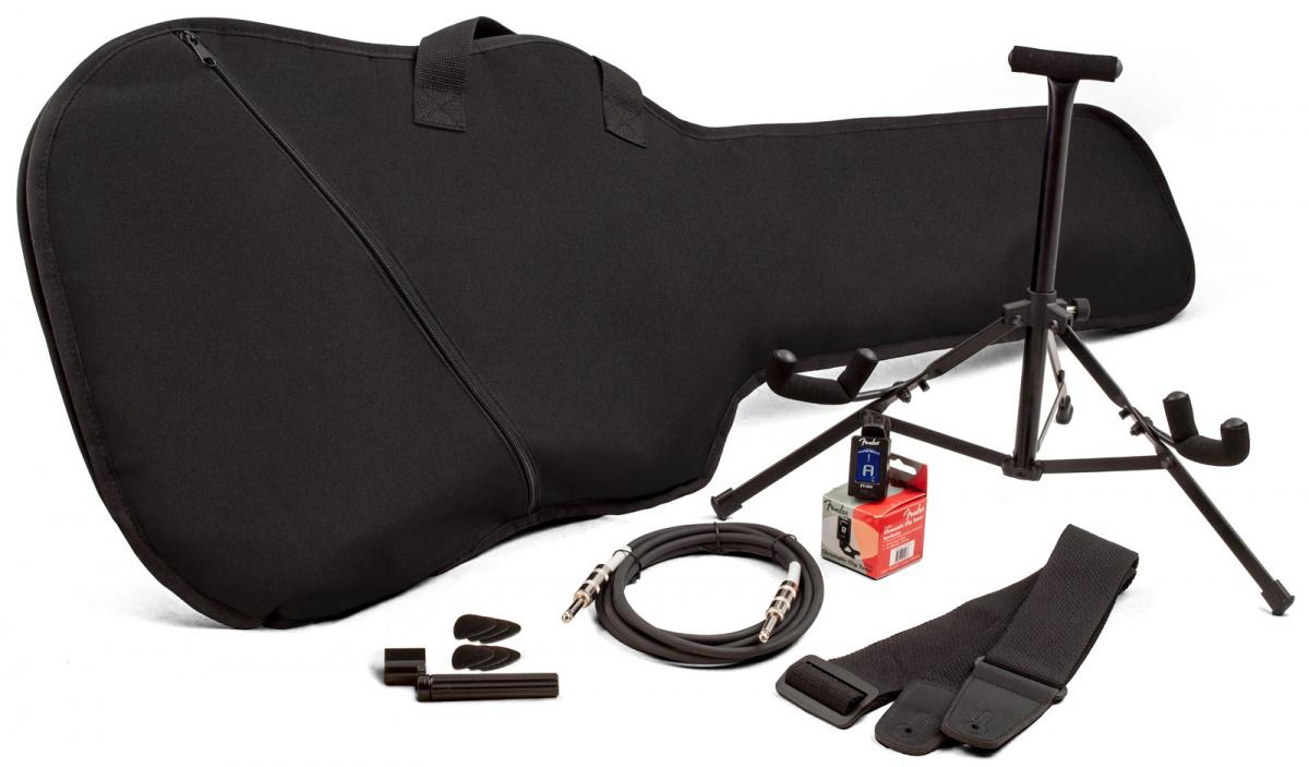 Pack d'accessoires Fender pour guitare éléctrique (Housse, stand, câble, accordeur...)