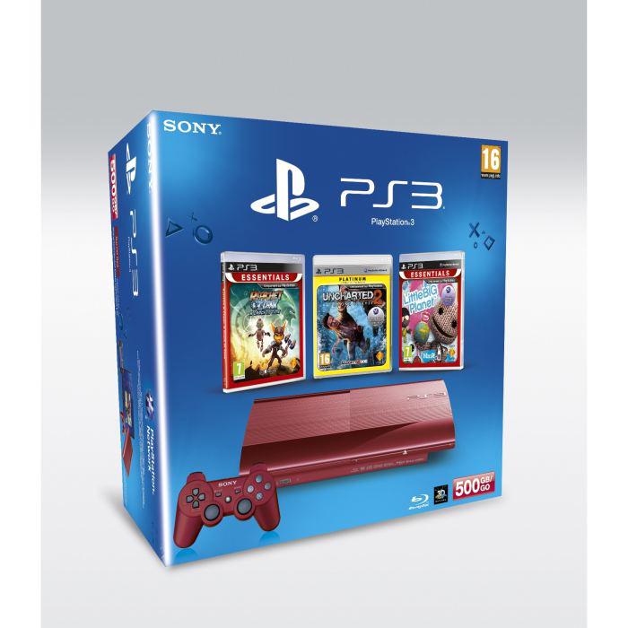 Console PS3 12Go Rouge + 3 jeux : God of War 3 + Little Big Planet + Uncharted 2 115€ en magasin