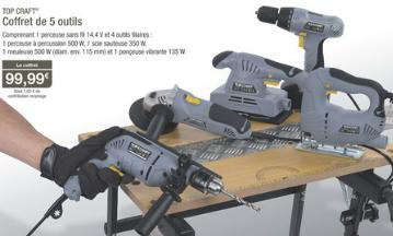 Coffret 5 outils Top Craft (1 sans fil et 4 filaire)