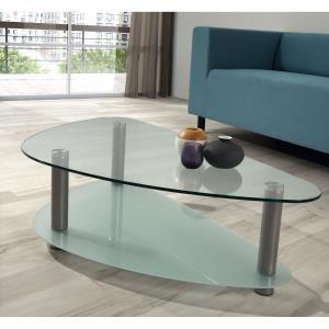 GLASS Table basse ovale avec 2 plateaux en verre