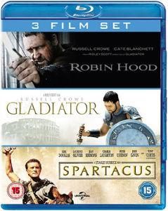 Coffret 3 Blu-Rays - Gladiator / Spartacus / Robin des bois (et autre)