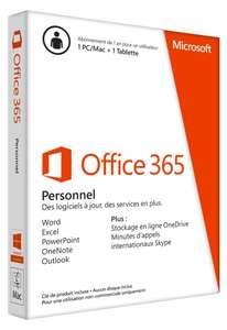 Office 365 Personnel - 1 PC ou Mac + 1 tablette/Ipad - 1 an d'abonnement