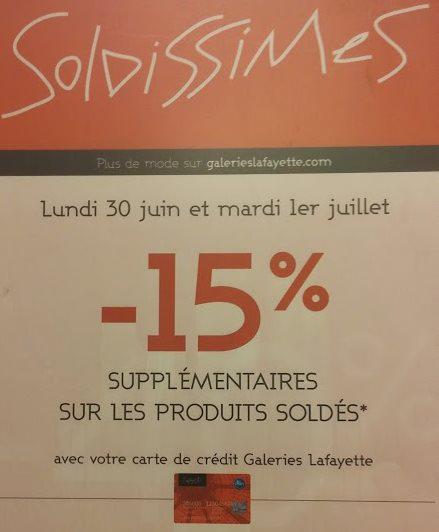 -15% supplémentaires sur les articles déjà soldés (Lyon - Part-Dieu)