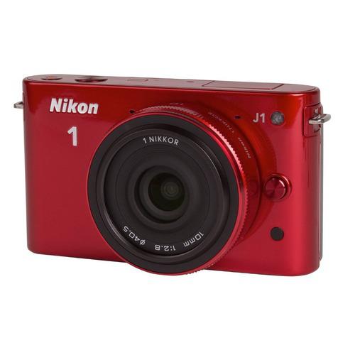 Appareil photo Hybride Nikon 1 J1 Rouge + Objectif 10 mm