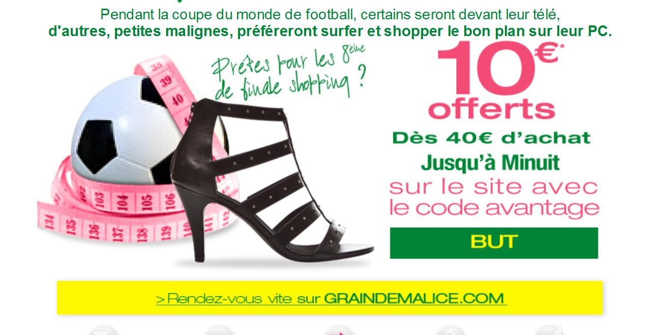 10€ offerts dès 40€ d'achat sur tout le site