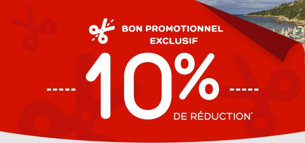 10% de réduction sur votre réservation