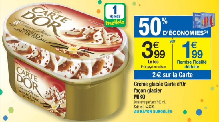 Crème Glacée Carte d'Or facon glacier gratuite