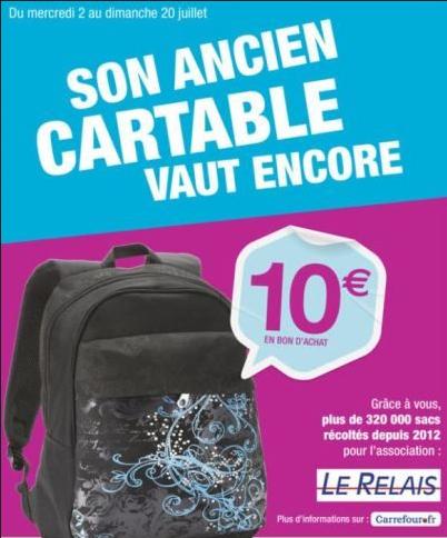 10€ offert en bon d'achat (valable dès 50€) pour la reprise de votre ancien cartable