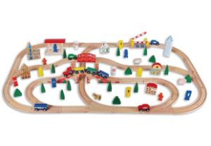 Circuit de train en bois 100 pièces
