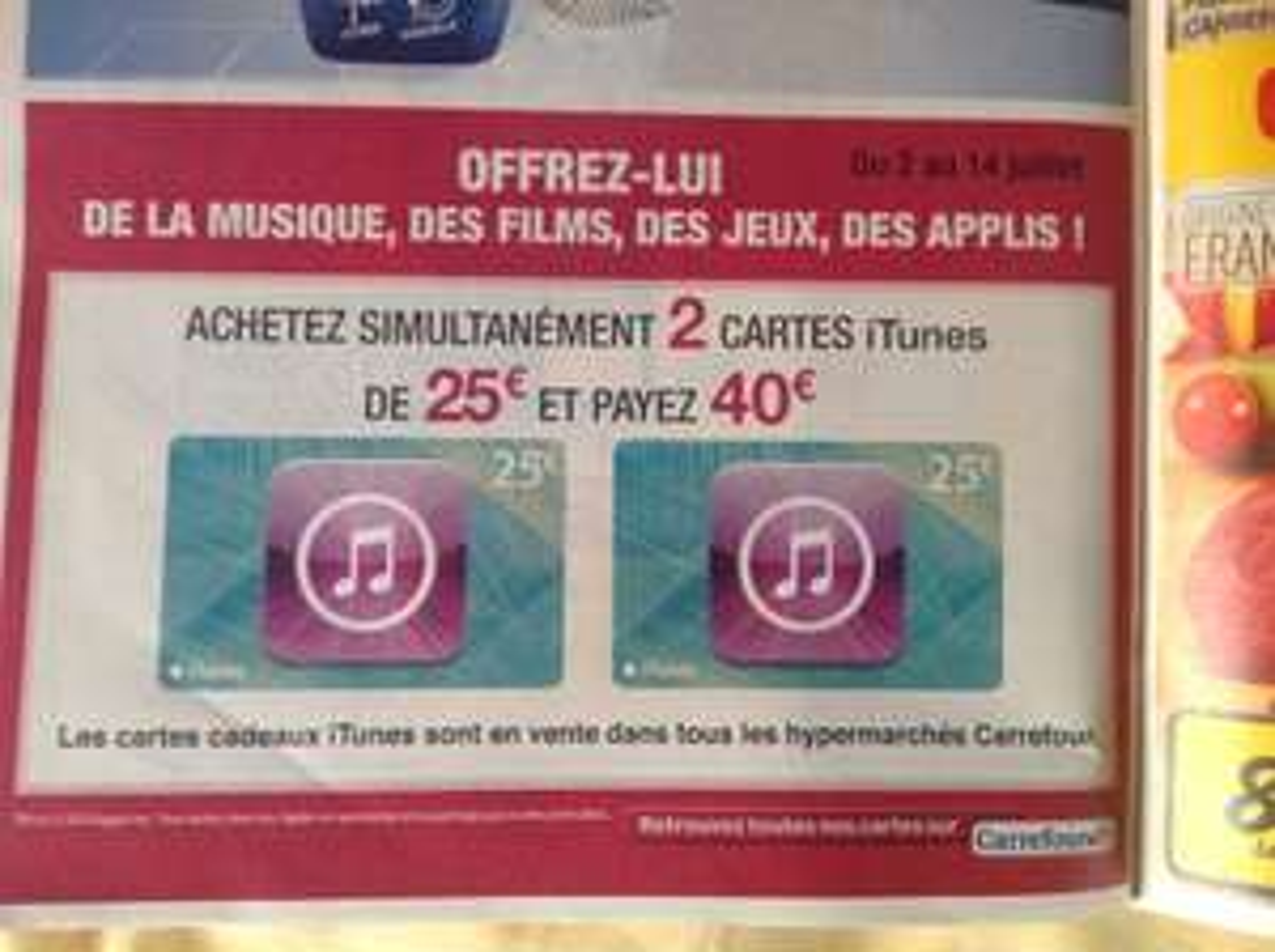 -20% sur les cartes AppStore - Ex : Crédit itunes : 50€ (2x25€) de crédit