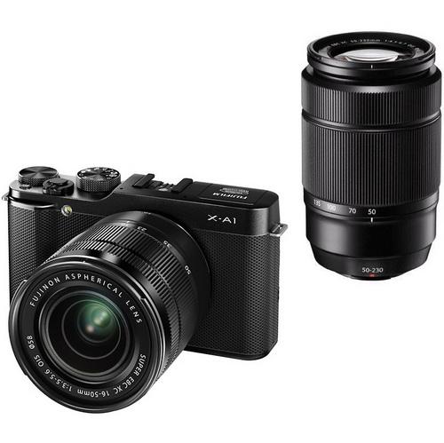 Fujifilm X-A1  hybride 16.3 Mpix Wi-Fi + 2 objectifs Fuginon XC 16-50mm et 50-230 mm gris